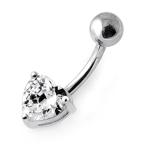 Heart Sterling Silver Belly Button Ring (White Gemstone Trendy Heart Design 925 Sterling Silver Belly Button Rings)
