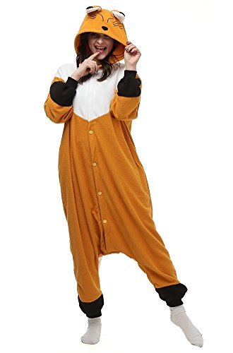 Famycos Family Cosplay Wear Costumes Pyjama Button Front for Unisex Kids Adults Orange Fox Adult-XL (Fox Costume For Teens)