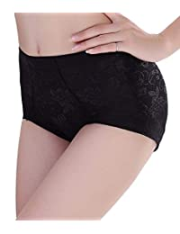 SEXYWG Women Lace Mid-Rise Briefs Butt Lifter Padded Panty Enhancer Underwear