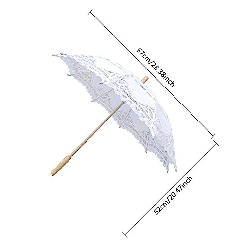 Lace Embroidery Wedding Umbrella Wooden Handle for Wedding Decoration(W) by Johlycao (Image #2)
