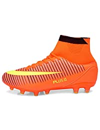 PLing Unisex High-Top Football Boots with Cleats Lace-Up for Men/Women/Boys/Girls