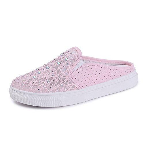 Btrada Mujeres Hollow Flower Mesh Zapatos Casuales Con Diamantes De Imitación Slingback Flat Slipper Sandals Pink