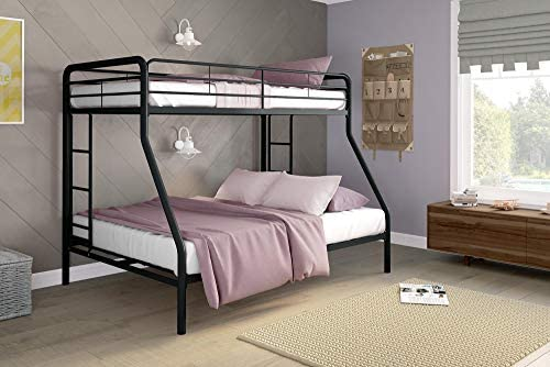 Amazon Com Dhp Twin Over Full Bunk Bed With Metal Frame And Ladder Space Saving Design Black Furniture Decor