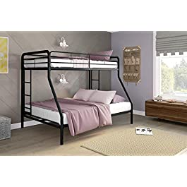 DHP Twin-Over-Twin Bunk Bed with Metal Frame and L...