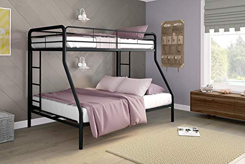- DHP Twin-Over-Full Bunk Bed with Metal Frame and Ladder, Space-Saving Design, Black