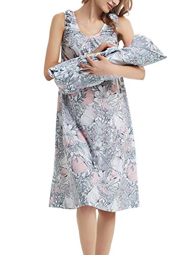 GINKANA Maternity/Nursing Delivery Nightgown with Matching Baby Swaddle Blankets and Hat Set - Hospital Bag Must Have -