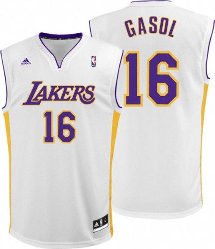dd1d7e83b adidas NBA Los Angeles Lakers White Replica Jersey Pau Gasol   16 ...