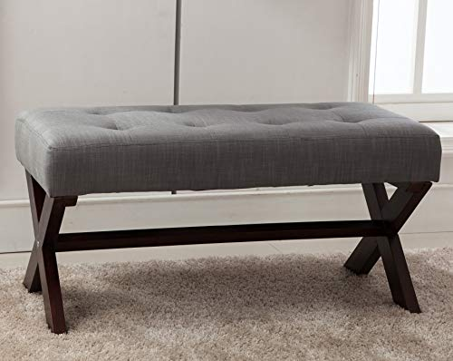 Prime Chairus Fabric Upholstered Entryway Bench Seat Gray 36 Inch Bedroom Bench Seat With X Shaped Wood Legs For Living Room Foyer Or Hallway Dailytribune Chair Design For Home Dailytribuneorg