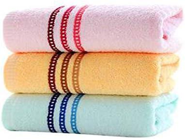 CQIANG タオル、綿タオル、強力吸収タオル、[3本セット]ピンク/イエロー/ブルー74×34センチメートル/ 29.6×13.6インチ (Color : Blue)