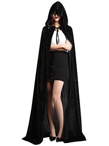 [Satinior Unisex Full Length Hooded Cloak Adult Velvet Cape Halloween Party Cosplay Costume Cloak (XL Size, Black)] (Halloween Capes Black Velvet Costumes)