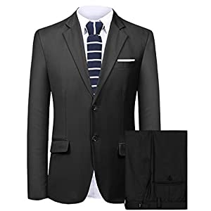 Hanayome Men's Suit 2 Pieces Slim Fit Suit Jacket Pant Coat Business Blazer for Men
