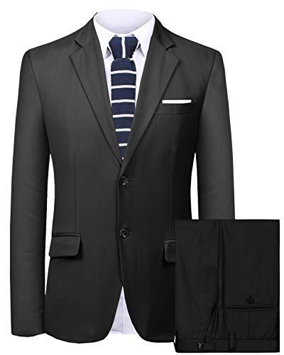 (Hanayome Men's Suit 2 Pieces Slim Fit Suit Jacket Pant Coat Business Blazer Men -Black-40R)