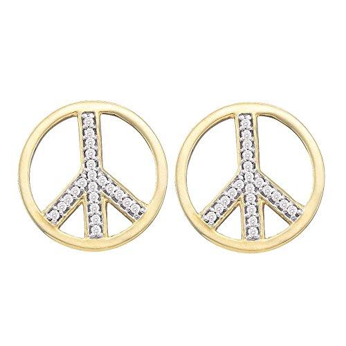 10k Yellow Gold Diamond Peace Sign Stud Earrings Circle Studs Fashion Style Screwback Fancy 1/6 (Diamond Gold Circle Heart Earrings)