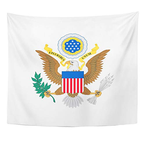 - Emvency Tapestry USA White Seal Us of Arms Emblem The United States Eagle Army Symbol Home Decor Wall Hanging for Living Room Bedroom Dorm 60x80 Inches