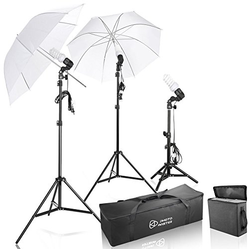 Photo Master 600W Photography Studio Video Portrait Soft Umbrella Continuous Triple Lighting Kit for Camera Video Shooting with Carrying Case by PHOTO MASTER