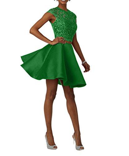 Teilig Cocktailkleider Tanzenkleider Abendkleider Damen Mini Satin Grün Promkleider Abendkleider Charmant Zwei Spitze wqxTzItX