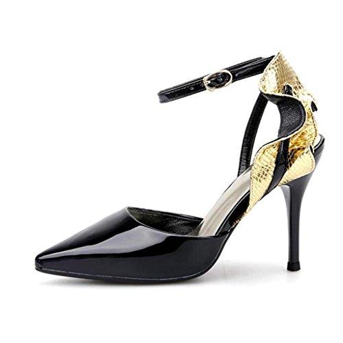 W&LM Sra Tacones altos Sandalias Boca rasa Zapatos individuales Hojas de loto Propina De acuerdo Zapatos individuales Black