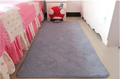 Hoomy Silver Grey Geometric Floor Runner Soft Bedroom Area Floor Mats Modern Nonslip Solid Floor Runner for Boys Room Thicken Foam Rugs 2.5X5