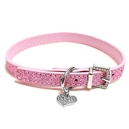 Bagoo Pets Diamond Heart Glitter Collar for Dogs & Cats (Pink)