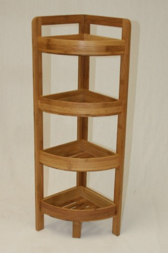 Used, eHemco 4 Tier Bamboo Corner Shelf in Dark Oak for sale  Delivered anywhere in USA