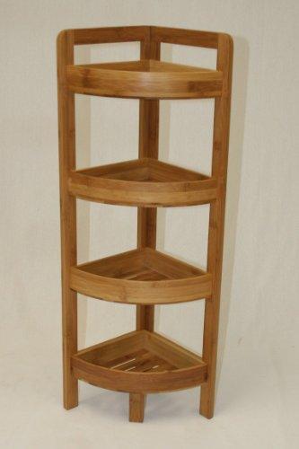 eHemco 4 Tier Bamboo Corner Shelf in Dark - Bamboo Corner