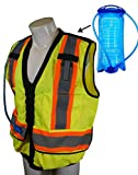 Safegear Design Reflective Construction Safety Vest with Integrated Hydration Water Bladder (L)