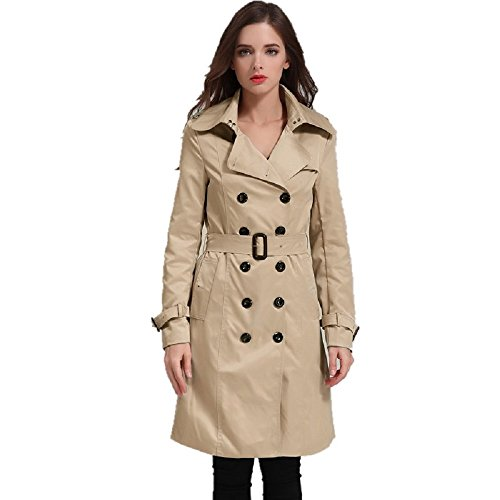EORISH Women British Double Breasted Slim Long Trench Coat Windbreaker Khaki L