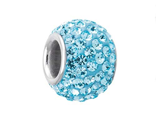 March Birthstone Charm - 925 Sterling Silver March Birthstone Charm Bead Swarovski Crystal Elements fit All Charm Bracelets Women Girls Gifts EC684-3