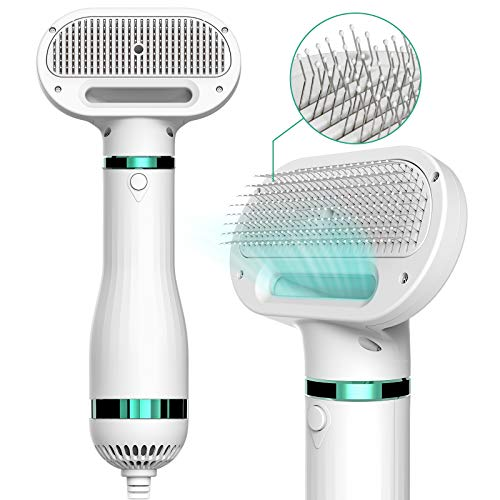 iPettie Pet Hair Dryer with Slicker Brush, 2020 Upgraded, 3 Heat Settings, One-Button Hair Removal, Portable Dog Blower, Professional Home Grooming Furry Drying for Small Large Cat Dog