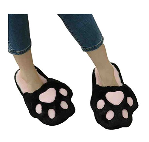 Womens Slipper Pretty Plush Winter Always Paws Indoor Soft Black Mens Happy Lovely Feet Slippers Cat and 6XzXx5dwq