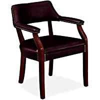 HON 6550 Series Vinyl Guest Chair with Fixed Arms, Wood Frame and Mahogany Finish, Oxblood