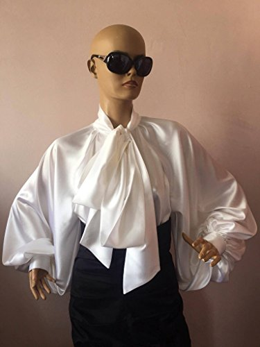 (Satin bow blouse, Formal womens satin blouse/ White cocktail satin blouse, Elegant women's blouse, Satin Bow Shirt)