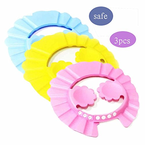 Baby Shower Cap Hair Hat Shampoo Bathing Eye Ear Protection Adjustable Waterproof for Kids Children 3 Pack by Stardd