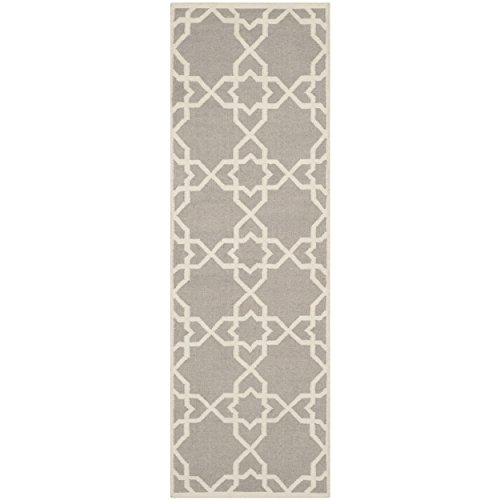 Safavieh Dhurries Collection DHU548G Hand Woven Grey and Ivory Premium Wool Runner (2'6