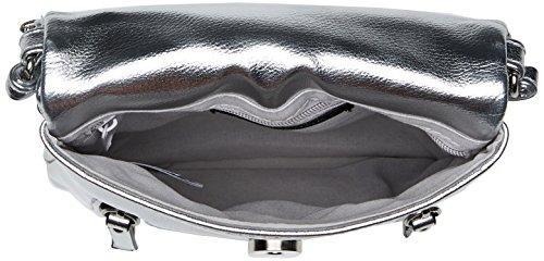 New Look Metalic Utility - Borse a tracolla Donna, Silver, 3x20x17 cm (W x H L)
