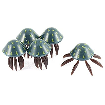 Amazon.com: eDealMax medusas plástico del tanque de pescados del ornamento 5 piezas de Chocolate en Color Azul Marino: Pet Supplies