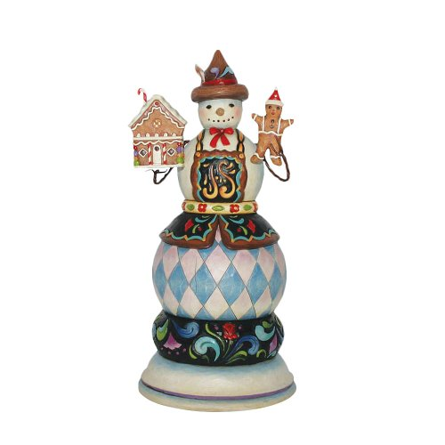 Enesco Jim Shore Heartwood Creek Snowman Holding Gingerbread Man and Gingerbread House Musical Figurine, 10-3/4 Inches