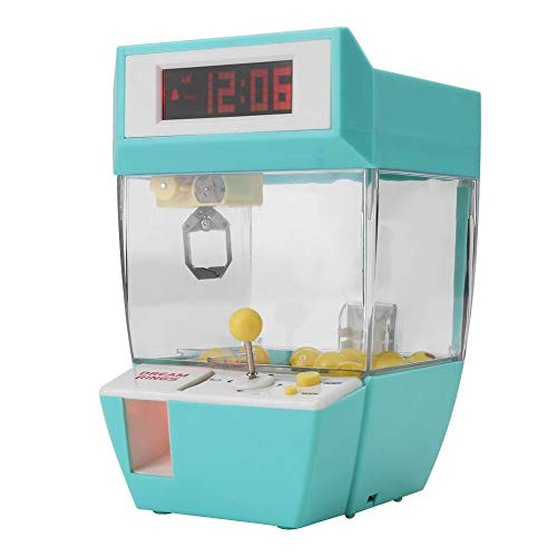 GOTOTOP Mini Claw Machine, 2 in 1 Electronic Claw Crane Machine Toy, LCD Display Alarm Clock Indoor Arcade Gams with Sounds, Coins and Balls for Boys Girls (Green)