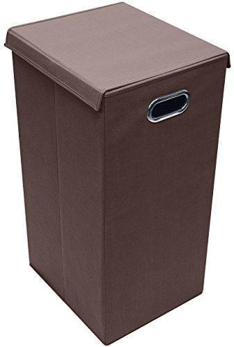 Sorbus Laundry Hamper Sorter with Lid Closure – Foldable Hamper, Detachable Lid, Portable Built-In Handles for Easy Transport – Single (Chocolate)