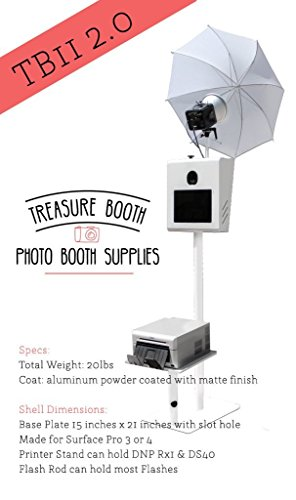 Portable Photo Booth Kiosk TB11 2.0 w/ Printer Stand & Flash Rod by Treasure Booth Portable & Lightweight for Easy Transportation & is Compatible w/ Surface Pro 2/3/4 (12in). Shell Only. Made in USA. -