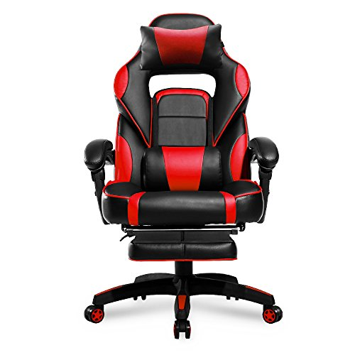 Merax High-Back Racing Home Office Chair, Ergonomic Gaming Chair with Footrest, PU Leather Swivel Computer Home Office Chair including Headrest and Lumbar Support (red)