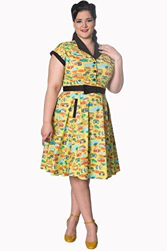 Banned Starlight Plus Grösse Vintage Retro Womens Dress Grün lkH08u