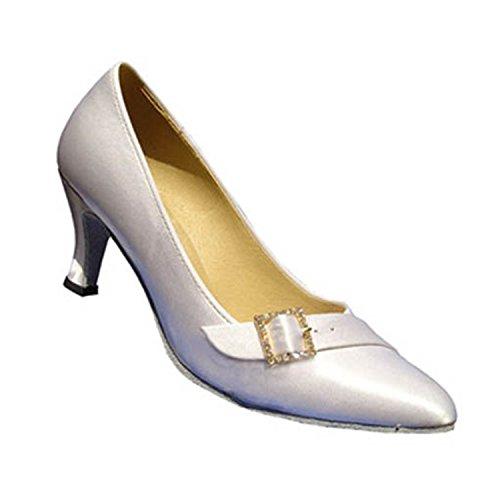 Salsa Tango W973 Shoesland Toe White Shoes Latin Women's Chunky Heel Dance Round Ballroom Dance qUF0YZq
