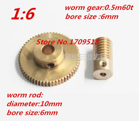Fevas 1 Sets 0.5M60t 60 Teeth Worm Gear Reduction Ratio:1:60 Worm Rod Diameter 10mm, bore 6mm