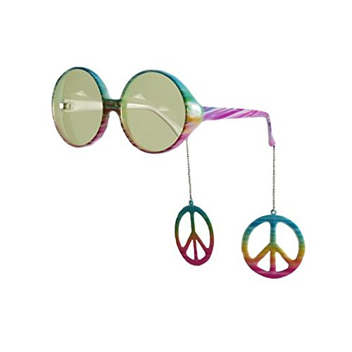 [Party Stained Halloween Dangle Peace Sign Hippie Glasses] (Road Sign Halloween Costumes)