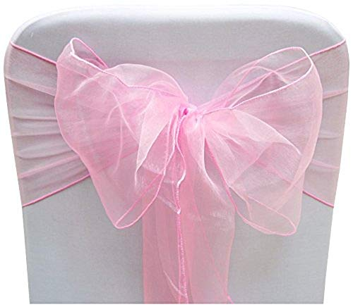 SARVAM FASHION SF New Pack of 25 Chair Decorative Organza Sashes Bow Designed for Wedding Events Banquet Home Kitchen Decoration - (25, Pink) ()