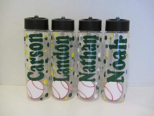 Personalized baseball 24 ounce BPA free water bottle