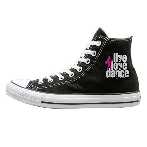 SH-rong Live, Love, Dance High Top Sneakers Canvas Shoes Slip-On Casual Sneaker Unisex Style Size 44