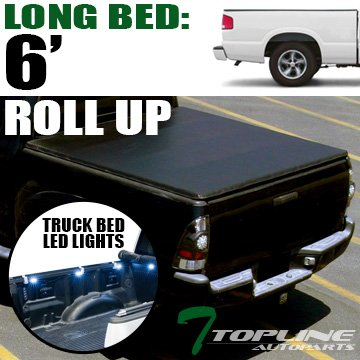 Topline Autopart Lock & Roll Up Soft Vinyl Tonneau Cover & Truck Bed LED Lighting System For 82-93 Chevy S10 ; 82-90 GMC S15 ; 91-93 GMC Sonoma 6 Feet (72