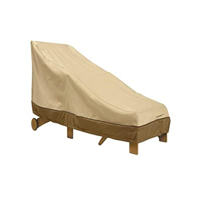 """AsiaCreate Patio Chaise Lounge Cover,Outdoor Waterproof Lounge Chair Covers,66\""""x35.5\""""x33\"""",Beige&Brown: Kitchen & Dining [5Bkhe0405990]"""
